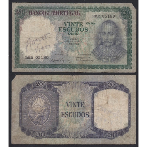Nota de 20 Escudos 1960 D.António Luiz de Menezes, 20$00 26/07/1960 Chapa: 6A - Banco de Portugal (Circulada)