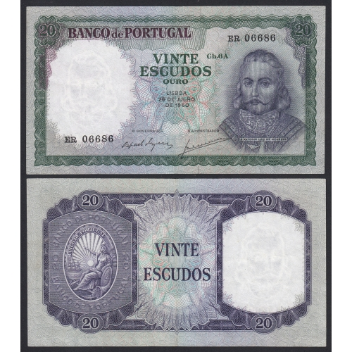 Nota de 20 Escudos 1960 D.António Luiz de Menezes, 20$00 26/07/1960 Chapa: 6A - Banco de Portugal (Pouco Circulada)