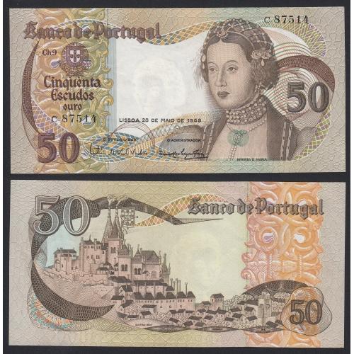 Nota de 50 Escudos 1968 Infanta D.Maria, 50$00 28/05/1968 Chapa: 9 - Banco de Portugal (Pouco Circulada)