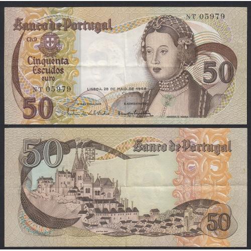 Nota de 50 Escudos 1968 Infanta D.Maria, 50$00 28/05/1968 Chapa: 9 - Banco de Portugal (Circulada)