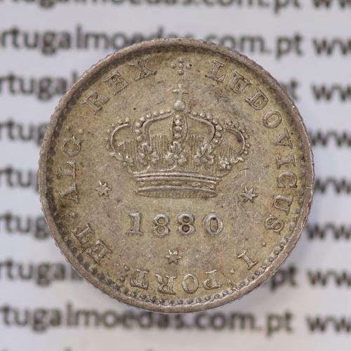 Moeda 50 Réis Prata 1880 ou Meio Tostão Prata 1880 (BELA) - Rei D. LUIS I - World Coins Portugal KM 506