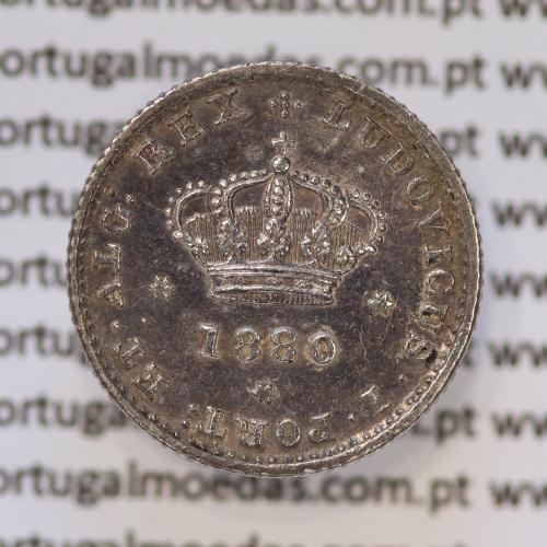 Moeda 50 Réis Prata 1880 ou Meio Tostão Prata 1880 (MBC+ / BELA) - Rei D. LUIS I - World Coins Portugal KM 506