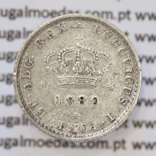 Moeda 50 Réis Prata 1880 ou Meio Tostão Prata 1880 (MBC+) - Rei D. LUIS I - World Coins Portugal KM 506