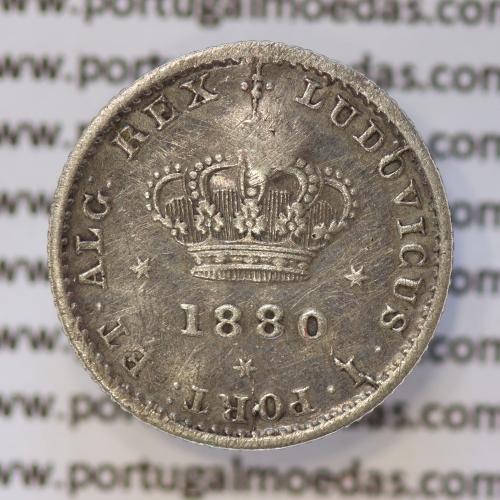 Moeda 50 Réis Prata 1880 ou Meio Tostão Prata 1880 (BC) - Rei D. LUIS I - World Coins Portugal KM 506