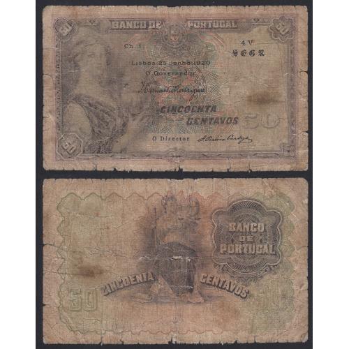 Nota de 50 centavos 1920 'Mulher c/barco na mão', 0$50 25/06/1920 Chapa: 1 - Banco de Portugal (Muito Circulada)