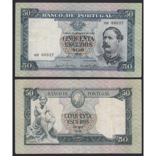 Nota de 50 Escudos 1960 Fontes Pereira de Melo, 50$00 24/06/1960 Chapa: 7A - Banco de Portugal (Circulada)