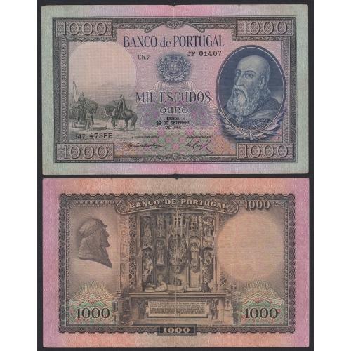 Nota de 1000 Escudos 1942 D.Afonso Henriques, 1000$00 29/09/1942 Chapa: 7 - Banco de Portugal (Circulada)