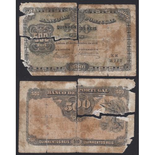 """Nota de 500 Reis Prata 1904 ( Muito Circulada ) """" Ch.3 - Banco de Portugal (27/12/1904)"""