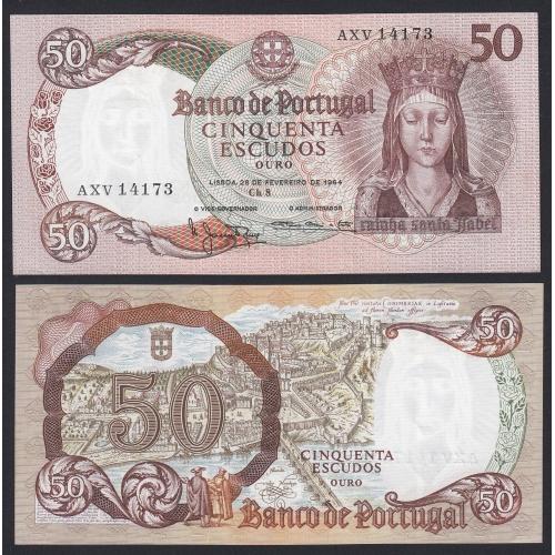 Nota de 50 Escudos 1964 Rainha Santa Isabel, 50$00 28/02/1964 Chapa: 8 - Banco de Portugal (Pouco Circulada)