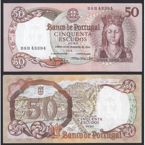 Nota de 50 Escudos 1964 Rainha Santa Isabel, 50$00 28/02/1964 Chapa: 8 - Banco de Portugal (Muito Pouco Circulada)