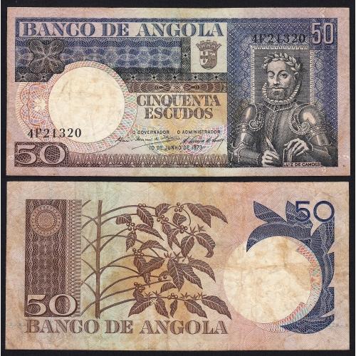 Nota de 50 Escudos 1973 Luiz de Camões, 50$00 10/06/1973 - Banco de Angola (Circulada)