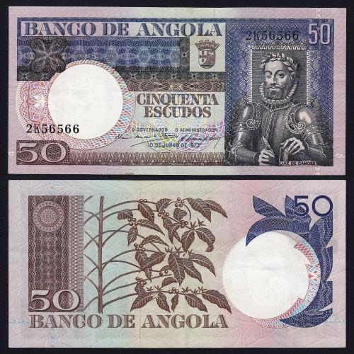 Nota de 50 Escudos 1973 Luiz de Camões, 50$00 10/06/1973 - Banco de Angola (Pouco Circulada)