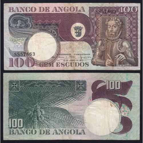 Nota de 100 Escudos 1973 Luiz de Camões, 100$00 10/06/1973 - Banco de Angola (Circulada)