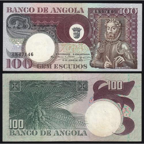 Nota de 100 Escudos 1973 Luiz de Camões, 100$00 10/06/1973 - Banco de Angola (Pouco Circulada)