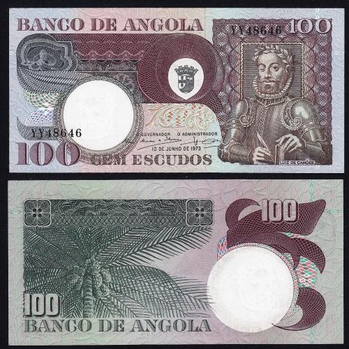 Nota de 100 Escudos 1973 Luiz de Camões, 100$00 10/06/1973 - Banco de Angola (Não Circulada)