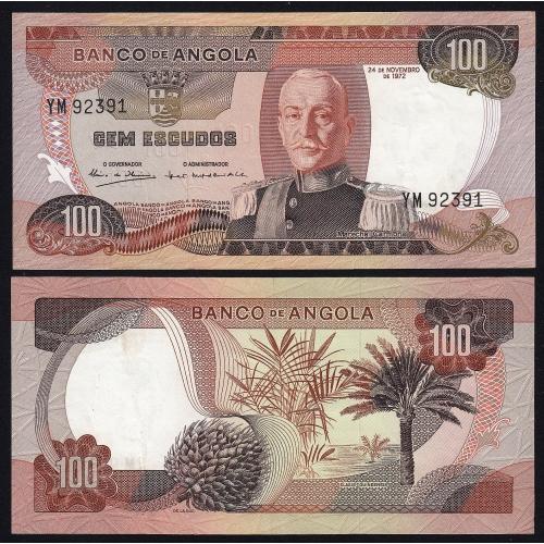 Nota de 100 Escudos 1972 Marechal de Carmona, 100$00 24/11/1972 - Banco de Angola (Pouco Circulada)