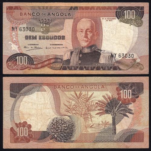 Nota de 100 Escudos 1972 Marechal de Carmona, 100$00 24/11/1972 - Banco de Angola (Circulada)