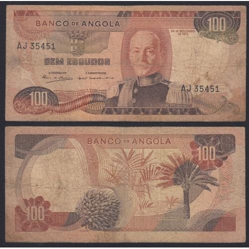 Nota de 100 Escudos 1972 Marechal Carmona, 100$00 24/11/1972 - Banco de Angola (Muito Circulada)