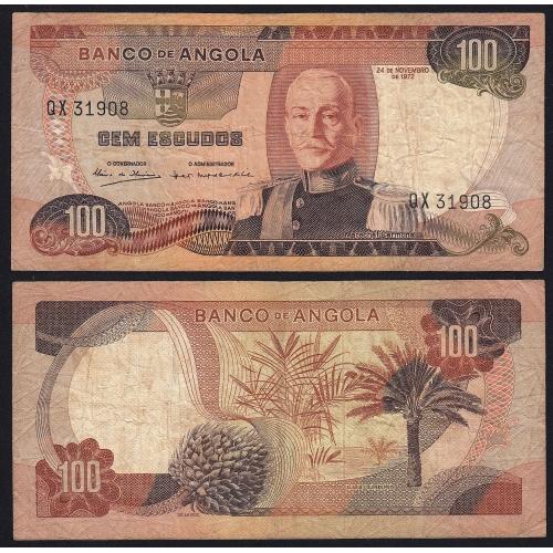 Nota de 100 Escudos 1972 Marechal Carmona, 100$00 24/11/1972 - Banco de Angola (Circulada +)