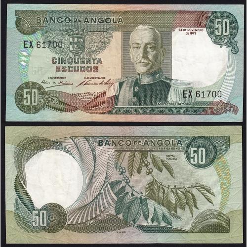 Nota de 50 Escudos 1972 Marechal Carmona, 50$00 24/11/1972 - Banco de Angola (Pouco Circulada)