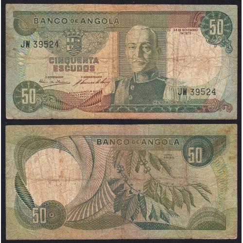 Nota de 50 Escudos 1972 Marechal Carmona, 50$00 24/11/1972 - Banco de Angola (Circulada)