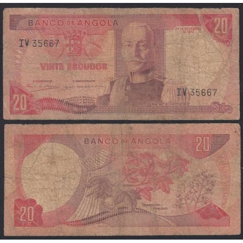 Nota de 20 Escudos 1972 Marechal Carmona, 20$00 24/11/1972 - Banco de Angola (Muito Circulada)