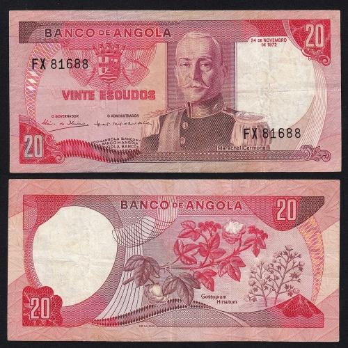 Nota de 20 Escudos 1972 Marechal Carmona, 20$00 24/11/1972 - Banco de Angola (Circulada)