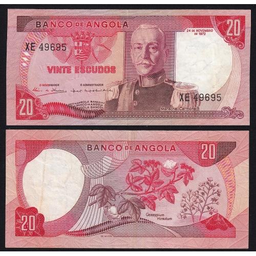 Nota de 20 Escudos 1972 Marechal Carmona, 20$00 24/11/1972 - Banco de Angola (Pouco Circulada)