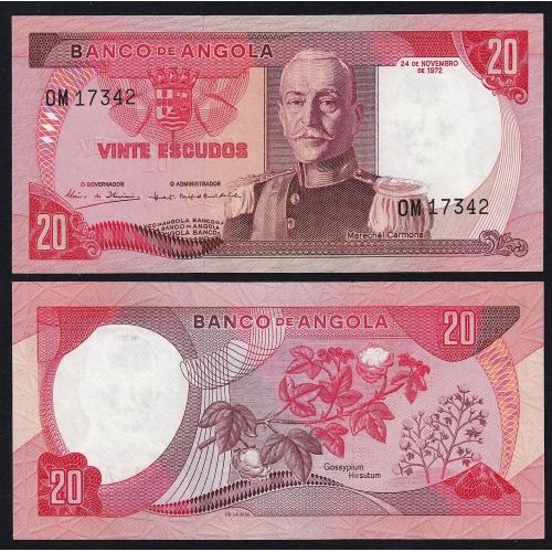 Nota de 20 Escudos 1972 Marechal Carmona, 20$00 24/11/1972 - Banco de Angola (Muito Pouco Circulada)