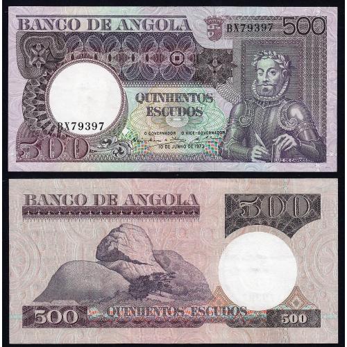 Nota de 500 Escudos 1973 Luiz de Camões, 500$00 10/06/1973 - Banco de Angola (Muito Pouco Circulada) - Capicua