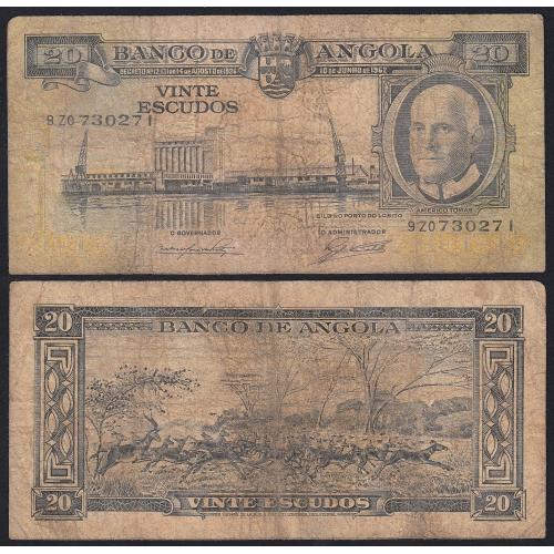 Nota de 20 Escudos 1962 Américo Tomás, 20$00 10/06/1962 - Banco de Angola (Muito Circulada)