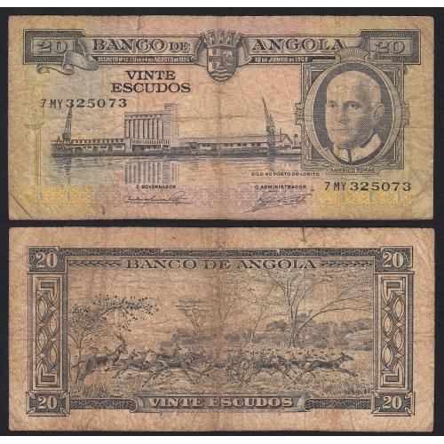 Nota de 20 Escudos 1962 Américo Tomás, 20$00 10/06/1962 - Banco de Angola (Circulada +)