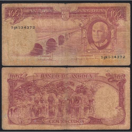 Nota de 100 Escudos 1962 Américo Tomás, 100$00 10/06/1962 - Banco de Angola (Circulada +)