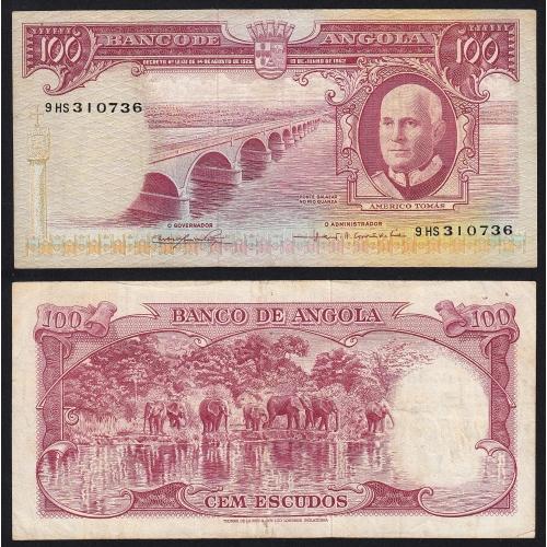 Nota de 100 Escudos 1962 Américo Tomás, 100$00 10/06/1962 - Banco de Angola (Pouco Circulada)