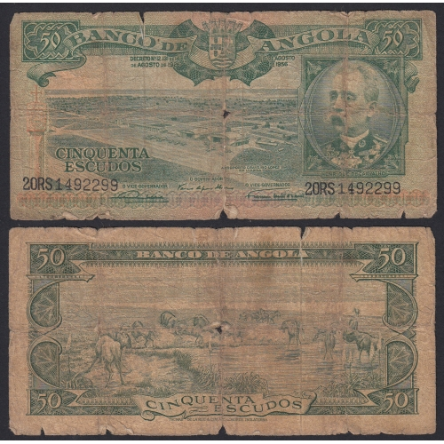 Nota de 50 Escudos 1956 Henrique de Carvalho, 50$00 15/08/1956 - Banco de Angola (Muito Circulada)