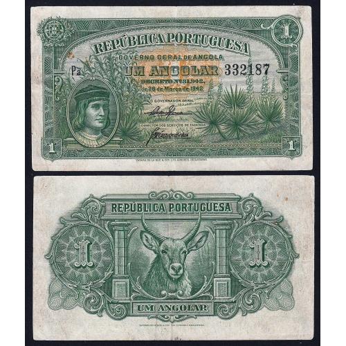 Nota de 1 Angolar 1942 Diogo Cão, 28/03/1942 - Governo Geral de Angola (Circulada)