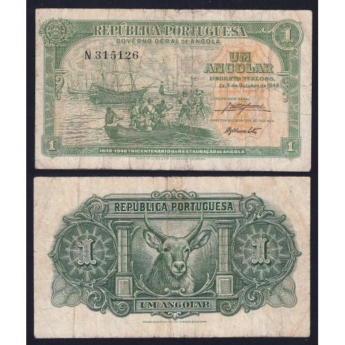 Nota de 1 Angolar 1948 300º aniversário da Restauração de Angola, 06/10/1948 - Governo Geral de Angola (Circulada)