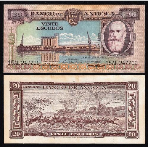 Nota de 20 Escudos 1956 Silva Porto, 20$00 15/08/1956 - Banco de Angola (Pouco Circulada)