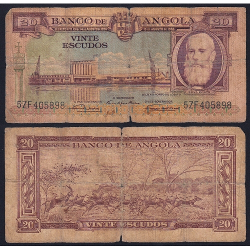 Nota de 20 Escudos 1956 Silva Porto, 20$00 15/08/1956 - Banco de Angola (Circulada +)