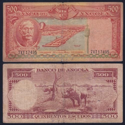 Nota de 500 Escudos 1956 Roberto Ivens , 500$00 15/08/1956 - Banco de Angola (Circulada)