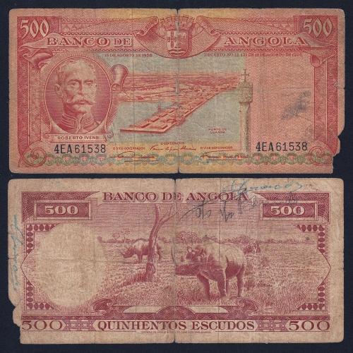 Nota de 500 Escudos 1956 Roberto Ivens , 500$00 15/08/1956 - Banco de Angola (Muito Circulada)