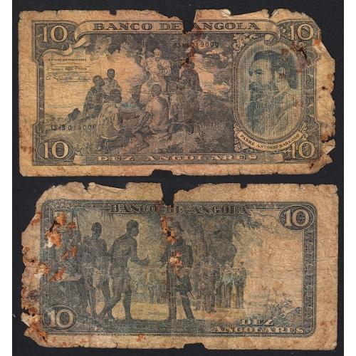 Nota de 10 Angolares 1947 Padre António Barroso, 01/06/1947 - Banco de Angola (Muito Circulada)
