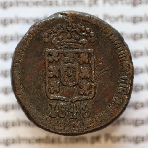 Moeda de 6 Réis Cobre 1848 de Goa, India Portuguesa Reinado D. MARIA II (1834-1853)