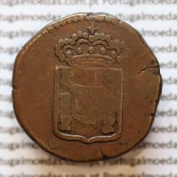 Moeda de 15 Réis ou 1/4 de Tanga em Cobre Não Datada de Goa, India Portuguesa Reinado D. MARIA II (1834-1853) World Coins KM 263
