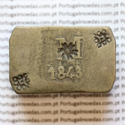 Moeda Onça Canelo em Prata 1843  de Moçambique, ou Pataca, Reinado D. MARIA II (1834-1853), World Coins Mozambique  KM 26.1