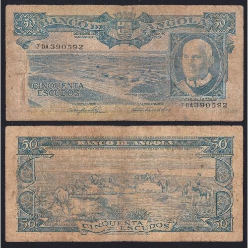 Nota de 50 Escudos 1962 Américo Tomás, 50$00 10/06/1962 - Banco de Angola (Circulada +)