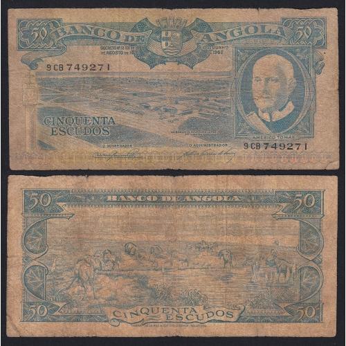 Nota de 50 Escudos 1962 Américo Tomás, 50$00 10/06/1962 - Banco de Angola (Muito Circulada)