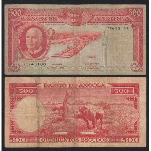 Nota de 500 Escudos 1962 Américo Tomás , 500$00 10/06/1962 - Banco de Angola (Circulada +)