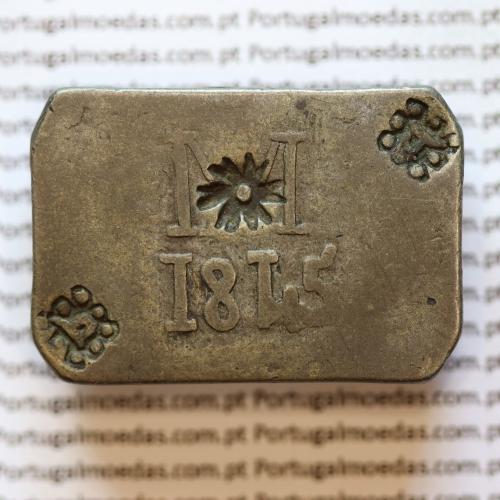 Moeda Onça Canelo em Prata 1845  de Moçambique, ou Pataca, Reinado D. MARIA II (1834-1853), World Coins Mozambique  KM 26.1