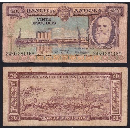 Nota de 20 Escudos 1956 Silva Porto, 20$00 15/08/1956 - Banco de Angola (Circulada)
